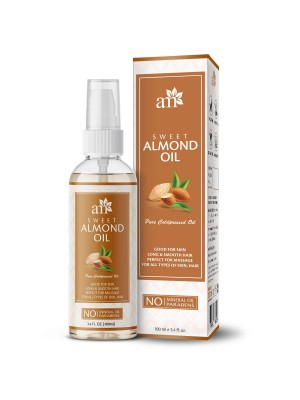 Aroma Musk 100% Pure Cold Pressed Sweet Almond Oil For Massage, Skin, Under Eye & Hair, 100 ml