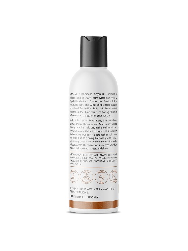 Aroma Musk Morrocan Argan Oil Shampoo For Hair Repair – Infused With Aloe Vera & Pro Vitamins (No Sulphate & Paraben), 200 ml