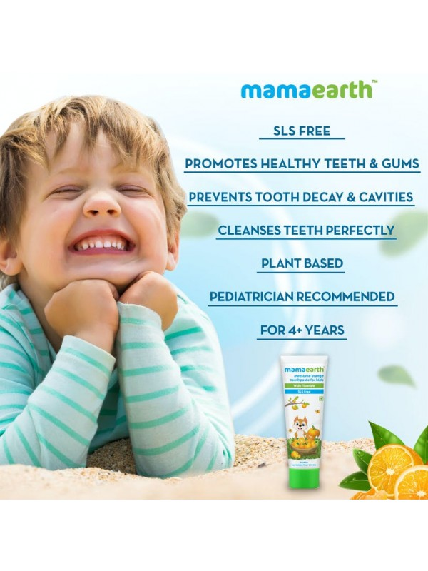 Mamaearth Sulfate Free Awesome Orange Toothpaste For Kids With Fluoride 50gm