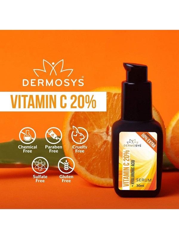 Dermosys Vitamin C Serum 20% With Hyaluronic Acid, Aloe Vera And Glutathione Skin Brightening And Anti Aging Serum, 30 ml