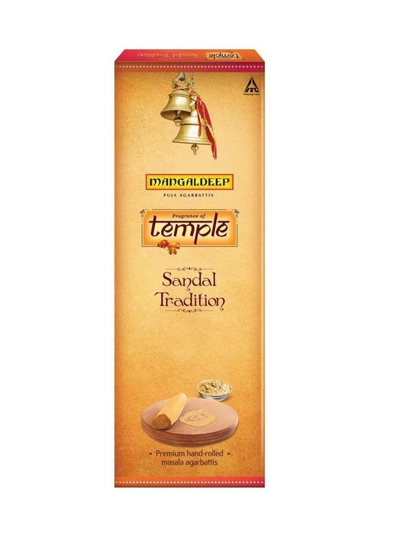 Mangaldeep Temple Tradition Premium Hand Rolled Sandal Agarbatti - 14 Sticks