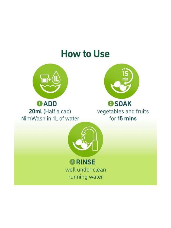 Nimwash Vegetable & Fruit Wash, 100% Natural Action Removes Pesticides & 99.9% Germs (1000 ml)