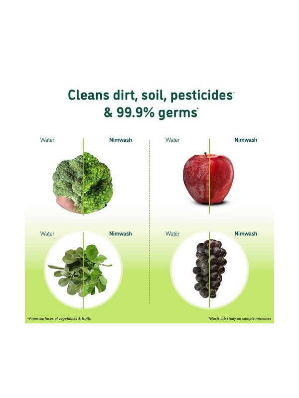 Nimwash Vegetable & Fruit Wash, 100% Natural Action Removes Pesticides & 99.9% Germs (500 ml)