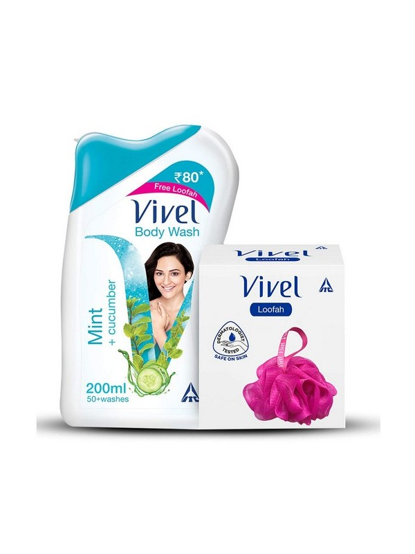 Vivel Body Wash Mint and Cucumber 100ml With Vivel Loofah Free
