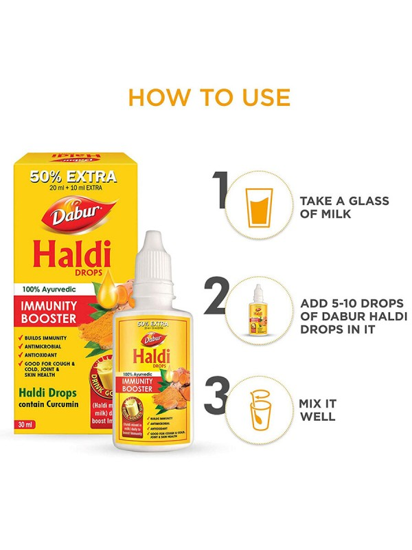 Dabur Haldi Drops Curcumin Extract for Natural Immunity Boosting & Fighting Inflammation (20ml +10ml Free)