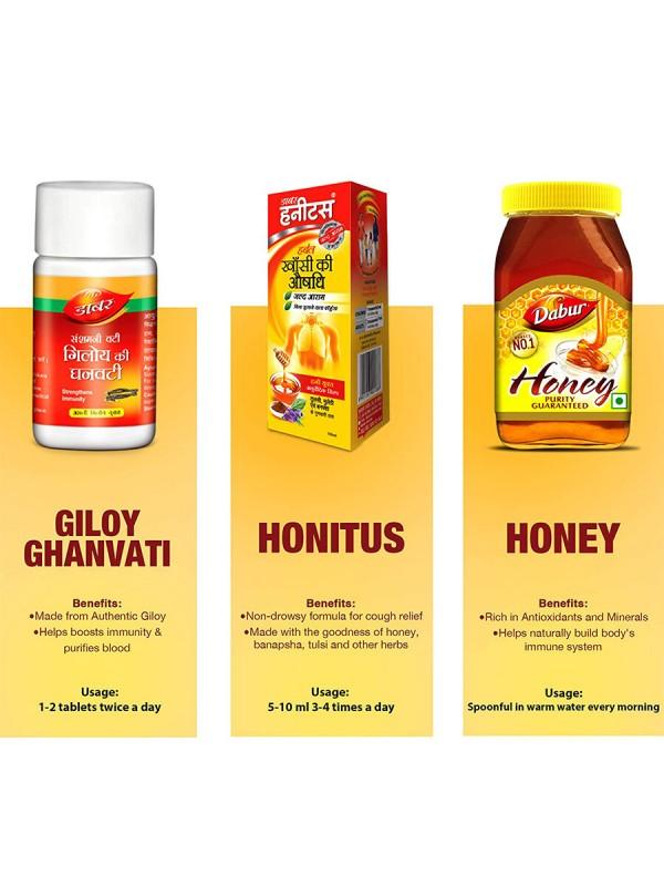 Dabur Immunity Kit (Honey - 250g , Honitus Syrup - 100ml and Giloy Ghanvati 40 Tabs)