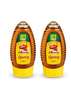 Dabur 100% Pure Honey Squeezy Pack 225gm ( Buy 1 Get 1 Free)