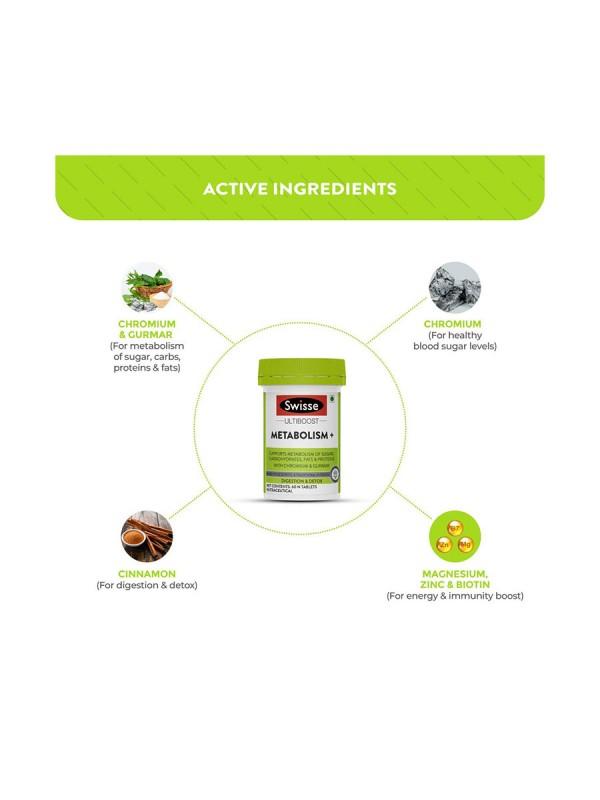 Swisse Ultiboost Metabolism+ For Digestion, Detox and Healthy Blood Sugar Levels - 60 N Tablets (Vegan Supplement)