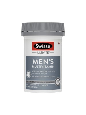 Swisse Ultivite Men's Multivitamin Supplement (with 36 Herbs, Vitamins & Minerals) for Relieving Fatigue & Tiredness and Assisting Energy, Stamina & Vitality Production - 60 Tablets
