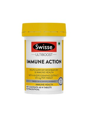 Swisse Ultiboost Immune Action with 125mg Andrographis extract per tablet that helps support Respiratory and Immune Health - 60 tablets (Vegan Supplement)