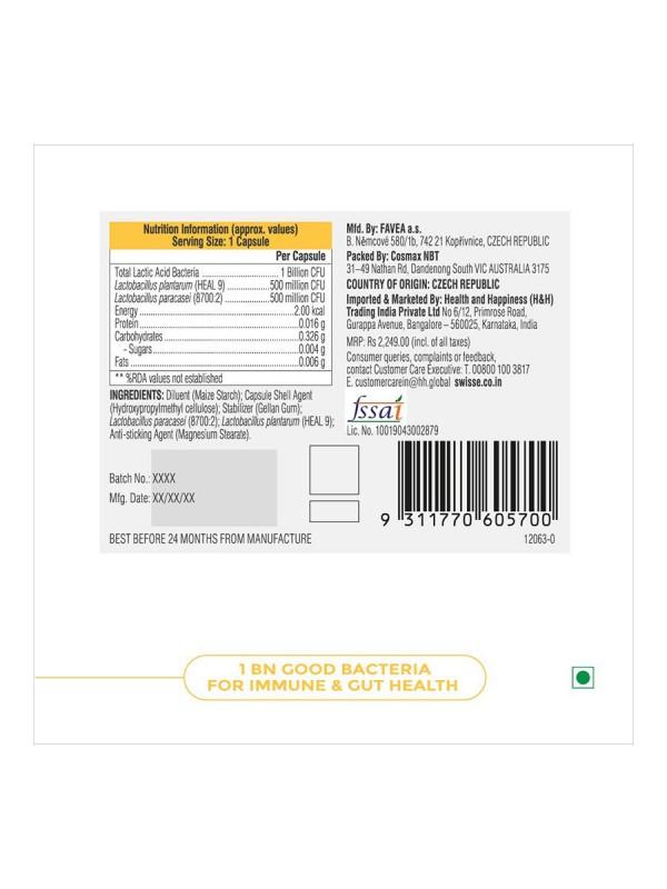Swisse Ultibiotic Daily Immune Probiotic For Immunity & Gut Health 30 N Capsules (Vegan Supplement)