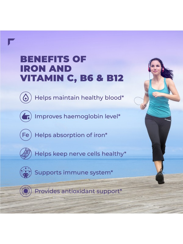 Swisse Ultiboost Iron Supplement with Vitamin C, Vitamin B6 & Vitamin B12 (30 Tablets)