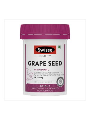 Swisse Grape Seed Supplement with Vitamin C (Vegan Collagen Booster) for Healthy Skin – 60 Tablets