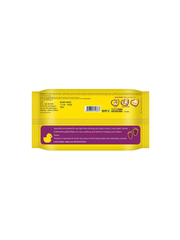 Lotus Baby Plus Gentle And Refreshing Baby Wipes - Yellow (72 pcs)