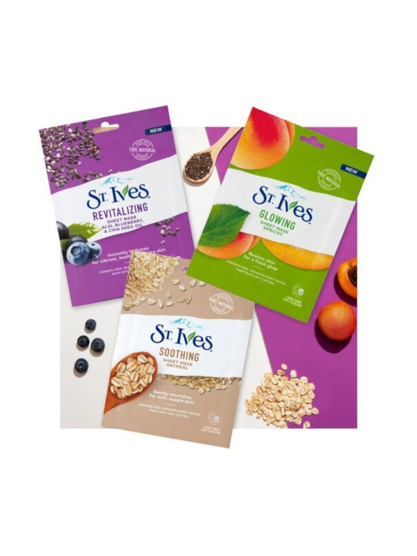 St Ives Revitalizing Sheet Mask, Acai, Blueberry And Chia Seed  (20ml)