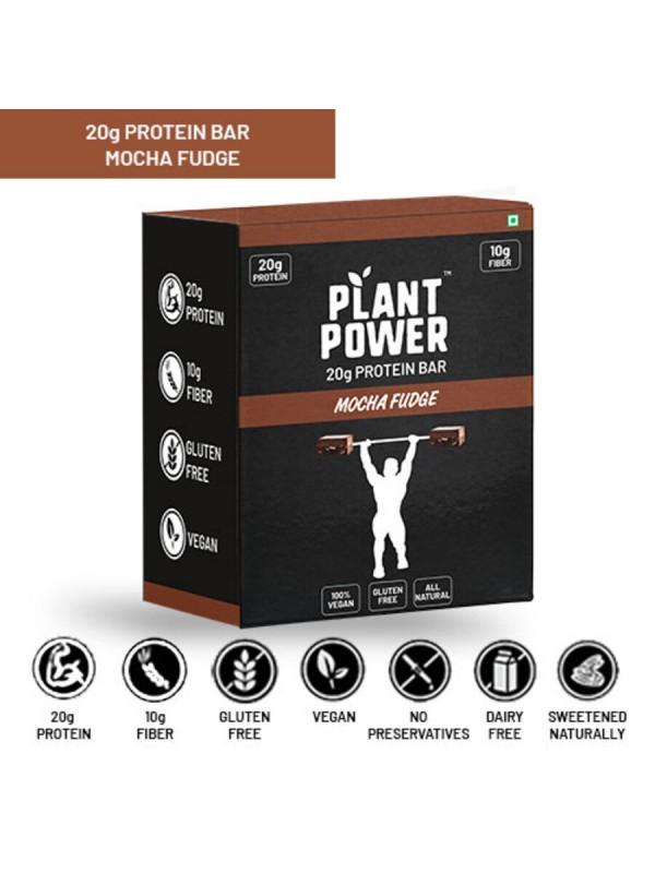 Plant Power 20 gm Protein Bar - Mocha Fudge (72g x 6)