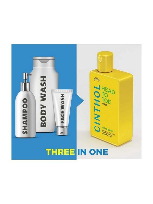 Cinthol Head To Toe 3-In-1 Wash (Shampoo Face And Body) - Fresh Burst 190ml