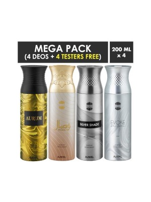 Ajmal Aurum Wisal & Silver Shade & Evokesilver Edition Homme Deodorant Sprays for Men (Pack Of 4)