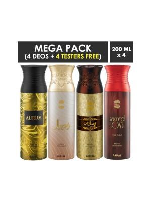 Ajmal Aurum & Wisal & Wisal Dhahab & Sacred Love Deodorant Spray for Men (200 ml, Pack Of 4)