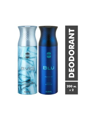 Ajmal Avid & Blu Deodorants for Men (200 ml, Pack Of 2)
