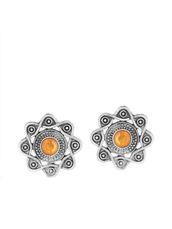Queen Be  Oxidised Entwined Tops - Yellow Center