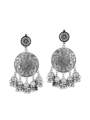 Queen Be  Oxidised Long Floral Jhumki