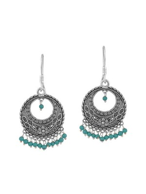Queen Be  Oxidised Shepherd Hook Chandbali With Turquoise Blue Beads