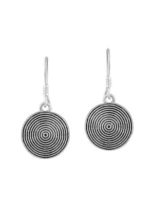 Queen Be  Oxidised Concentric Circle Shepherd Hook Danglers