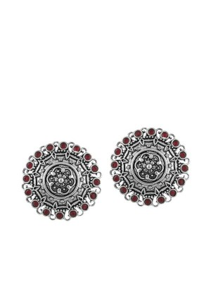 Queen Be  Oxidised Ruby Red Stone Pattern Tops