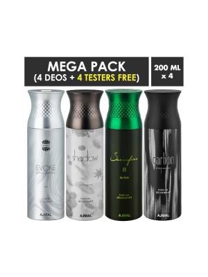 Ajmal Evoke silver Edition, Shadow Homme, Sacrifice II him, Carbon Deodorant Sprays for Men (Pack Of 4)