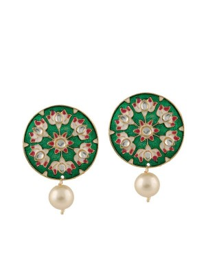 Queen Be  Emerald Marvel Earrings With Pearl Drops