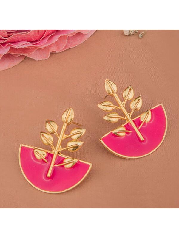 Queen Be  Leaf Half Circle Pink Earrings