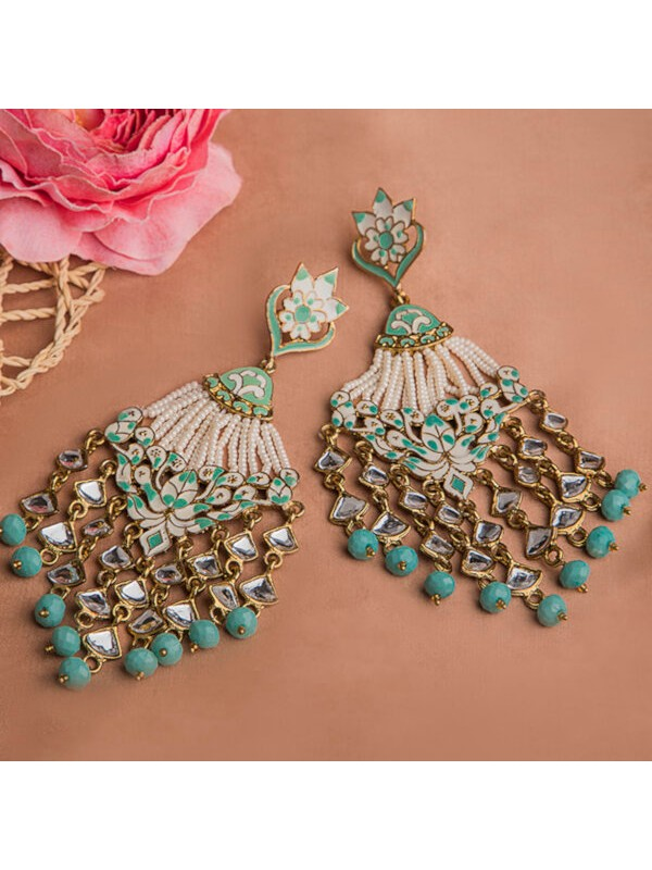 Queen Be  Enameled Glam Chandeliers with Mint Green Stones And White Pearls