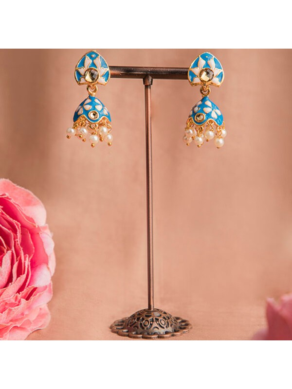 Queen Be  Everyday Enameled Jhumkis with Blue & White with White Pearls