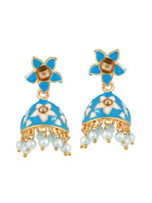 Queen Be  Floral Enameled Jhumkis with Deep Blue & White with White Pearls