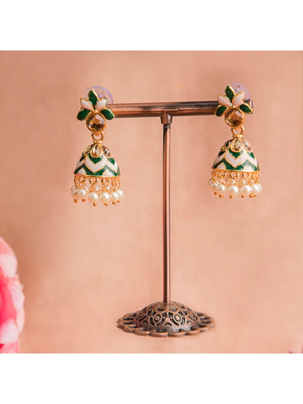 Queen Be  Leaf Enameled Jhumkis with Emerald Green & White with White Pearls