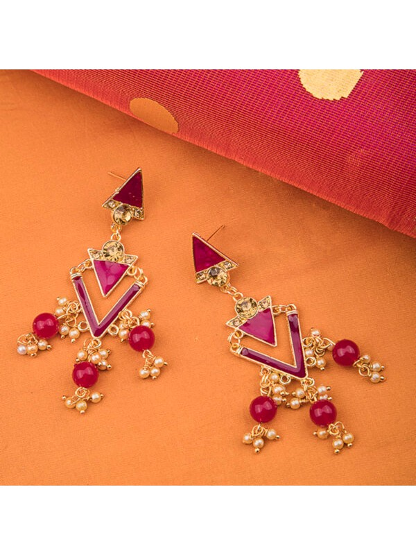 Queen Be  Long Triangle Danglers With Magenta Enamel