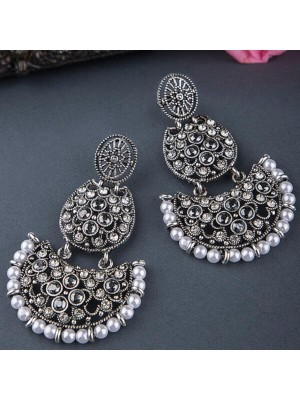 Queen Be  Oxidised Half Moon Crystal Danglers