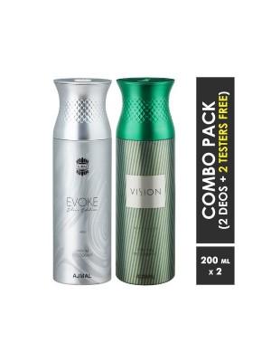 Ajmal Evokesilverhim & Vision Deodorants for Men (200 ml, Pack Of 2)