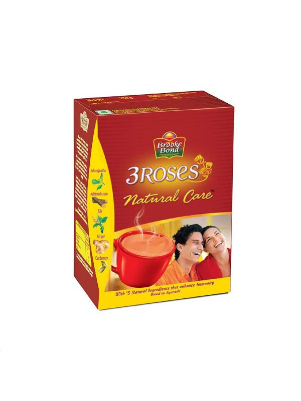 Red Label Brooke Bond 3 Roses Natural Care Tulsi Ginger Cardamom Tea Box (250 gm)