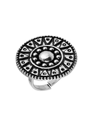 Queen Be  Oxidised Tribal Tattoo Cocktail Ring