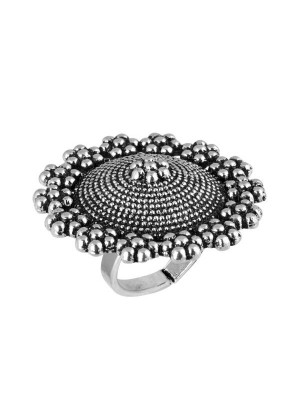 Queen Be  Oxidised Blossoming Garden Cocktail Ring