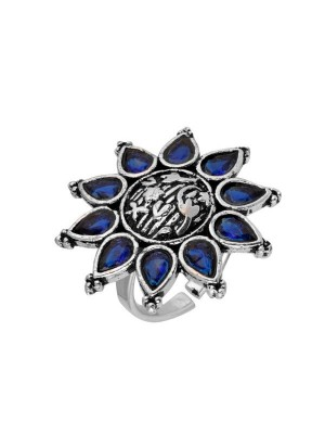 Queen Be  Oxidised Blue Aster Flower Cocktail Ring