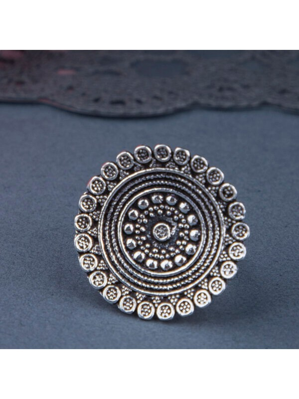Queen Be  Oxidised Concentric Circle Cocktail Ring