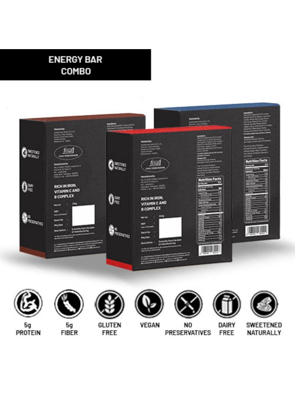 Plant Power 5 gm Energy Bars Variety (3 Flavours x 6 Bars of 50g)
