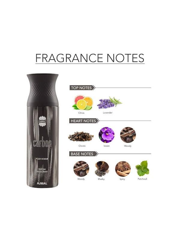 Ajmal Carbon & Carbon & Sacrifice II Deodorant Spray  for Men (200 ml, Pack Of 3)