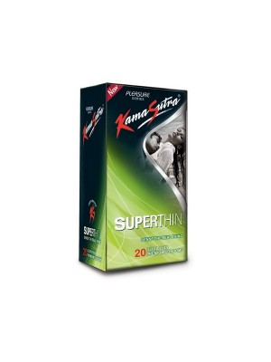 Kamasutra Pleasure Series Superthin Condoms For Men - 20 Pieces (Extra Thin For Natural Sensations)