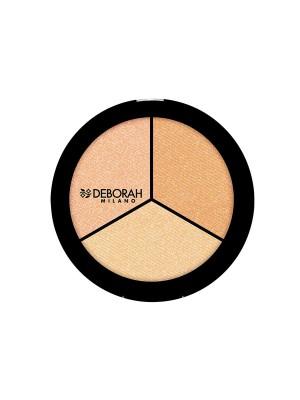 Deborah Milano Trio Highlighter Palette Pearly Beige / Gold Amber / Sparkling Rose