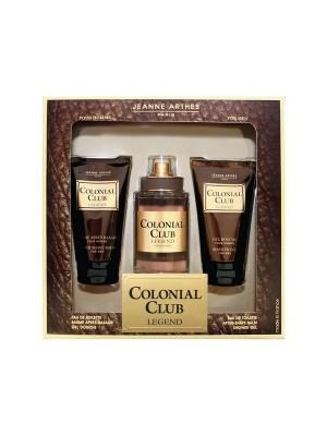 Jeanne Arthes Colonial Club Legend Gift Set Eau De Toilette 100 ml + After Shave Balm 75 ml + Shower Gel 75 ml