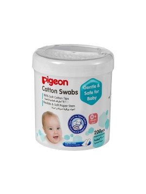 Pigeon Cotton Swabs Thin Stem, 200Pieces/Hinged Case